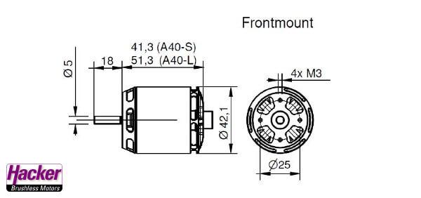 Moteur Brushless Hacker A40 10L V4 dimensions