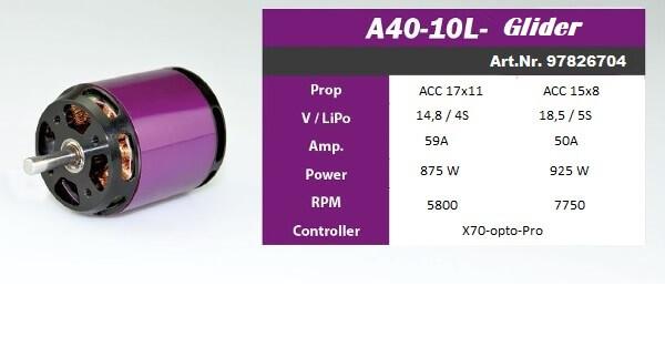 Moteur Brushless Hacker A40 10L Glider